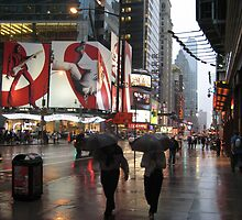 Synchronised umbrellas by Jodi Fleming