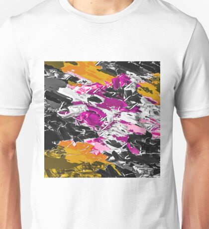 purple pink yellow brown black painting texture abstract background Unisex T-Shirt