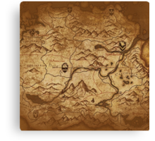 Distressed Maps: Elder Scrolls Skyrim Canvas Print