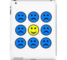 Happy Smiley in a Crowd of Unhappy Faces iPad Case/Skin
