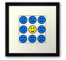 Happy Smiley in a Crowd of Unhappy Faces Framed Print