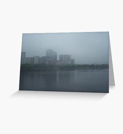 Boston in fog Greeting Card