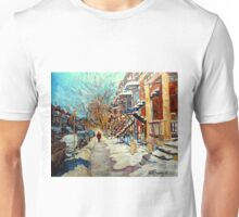CANADIAN STREET SCENES OF MONTREAL WINTER CAROLE SPANDAU Unisex T-Shirt