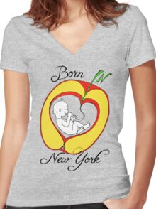 Born in New York Women's Fitted V-Neck T-Shirt