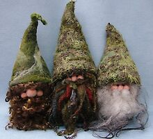 Handmade gnomes from Teddy Bear Orphans by Penny Bonser
