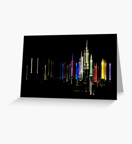 New York City Skyline Colorful Night Lights Greeting Card