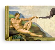 The Original Creation Of Adam With Elephant Canvas Print