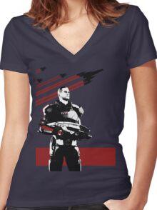 N7- Commander Shepard (Male) Women's Fitted V-Neck T-Shirt