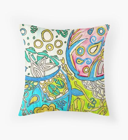 Abstract  Underwater Jellyfish Pen Drawing Throw Pillow