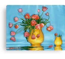 Pink tulips in yellow vase Canvas Print