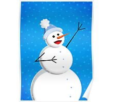 Blue Winter Happy Snowman Poster