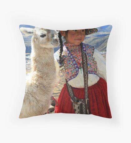 Peruvian Girl Throw Pillow