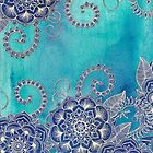 Mermaid's Garden - Navy & Teal Floral on Watercolor by micklyn