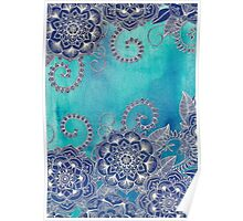 Mermaid's Garden - Navy & Teal Floral on Watercolor Poster