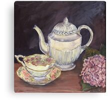 Charlotte's Wedgewood Teapot with hydrangea Canvas Print