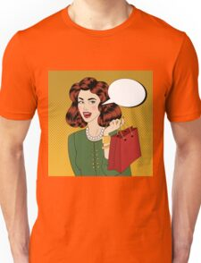 Pop art Style banner. Vintage Girl with Shopping Bags in Comics Style Unisex T-Shirt