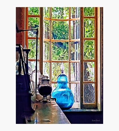 Blue Apothecary Bottle Photographic Print