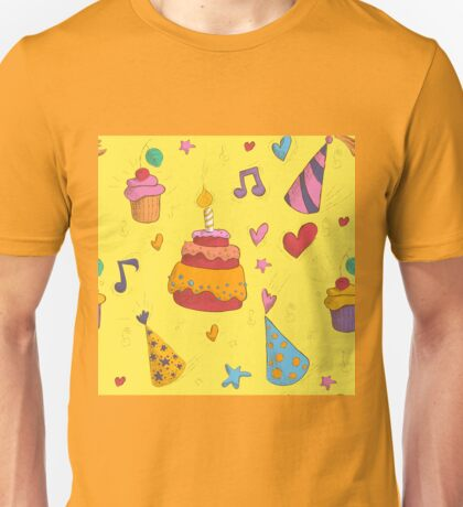 Happy Birthday Seamless Pattern with Cake, Cupcakes and Hats for Children Party Unisex T-Shirt