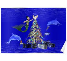 Mermaid Decorating the Christmas Tree Poster
