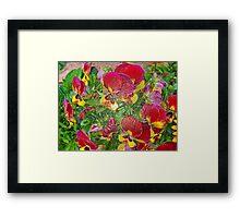 Plastic Pansies Framed Print