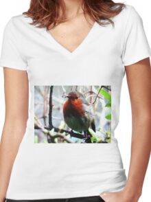 """""""Cheeky Robin Redbreast"""" Women's Fitted V-Neck T-Shirt"""