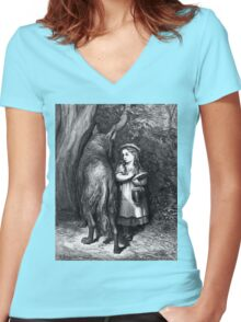 LITTLE RED RIDING HOOD....circa 1857! Women's Fitted V-Neck T-Shirt