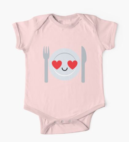 Fork and Spoon Emoji Heart and Love Eye One Piece - Short Sleeve