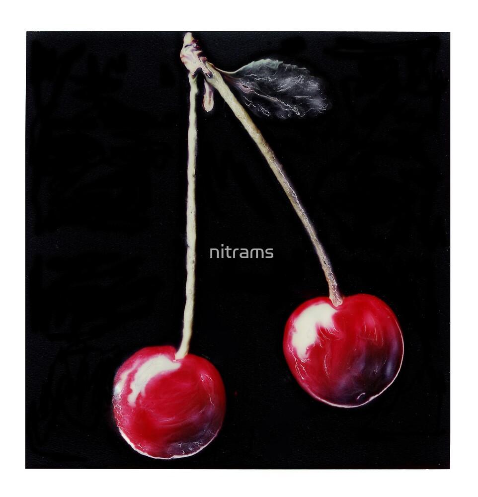 Red cherries on stalk. by nitrams