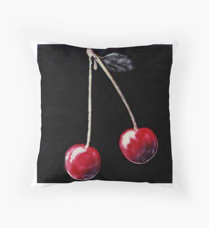 Red cherries on stalk. Throw Pillow