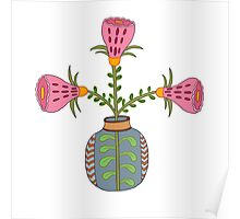 flower pot illustration 1 Poster