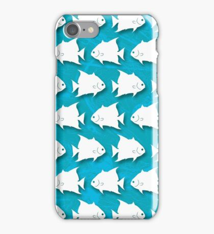 Atlantic Spadefish Silhouette Pattern on Blue Background iPhone Case/Skin