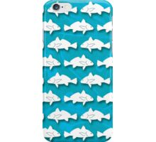 Atlantic Croaker Silhouette Pattern on Blue Background iPhone Case/Skin
