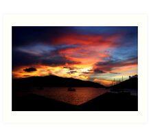 Saba Rock Island Sunset Art Print
