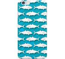 Amberjack Fish Silhouette Pattern on Blue Background iPhone Case/Skin
