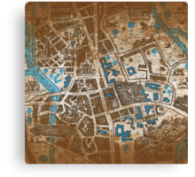 Distressed Maps: His Dark Materials Lyra's Oxford Canvas Print