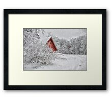 Red Shed In The Snow Framed Print