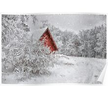 Red Shed In The Snow Poster