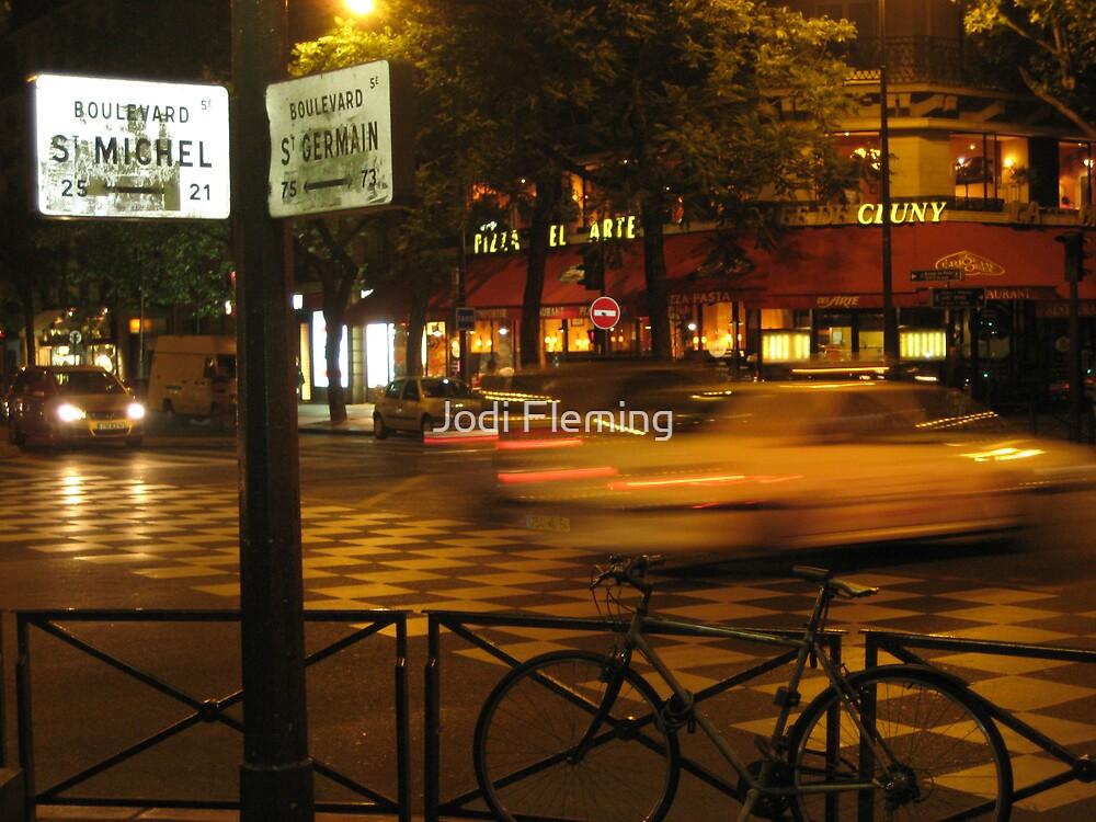 paris street at night by Jodi Fleming
