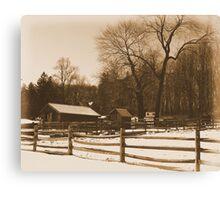 #37  The Farm In winter Snow Canvas Print