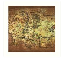 Distressed Maps: Lord of the Rings Middle Earth Art Print