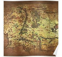 Distressed Maps: Lord of the Rings Middle Earth Poster