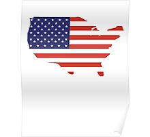 American Flag, Country Outline, Stars & Stripes, USA, Pure & Simple Poster