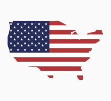 American Flag, Country Outline, Stars & Stripes, USA, Pure & Simple by TOM HILL - Designer
