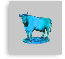 Blue bull graphic design Canvas Print