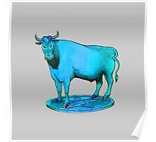 Blue bull graphic design Poster