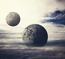 Surreal Moons In Bright Sky  by melsome