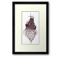 Soul of the Battleship surreal black and white pen ink drawing Framed Print