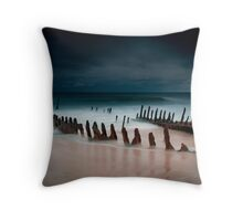 A beach with water Throw Pillow