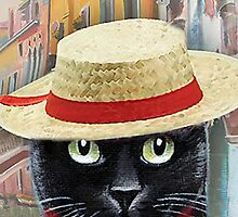 Venetian Gondolier Cat Art by timelessfancy