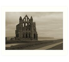 Whitby Abbey Overlooking Bay Art Print